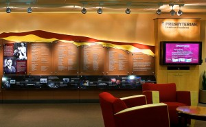 Donor wall with interactive multimedia presentation at Presbyterian Hospital Foundation