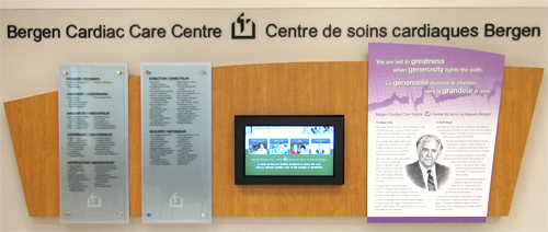Interactive donor wall and recognition display. Major donor recognition. Bergen Cardiac Care Centre.