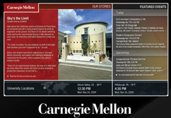 Digital signage for nonprofits. Multimedia presentation created for Carnegie Mellon University by Planned Legacy.